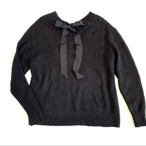 Halogen Black Grosgrain Ribbon Tie Back Sweater
